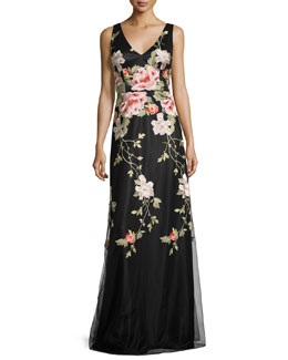 Sleeveless Floral Embroidered Tulle Gown, Black/Pink