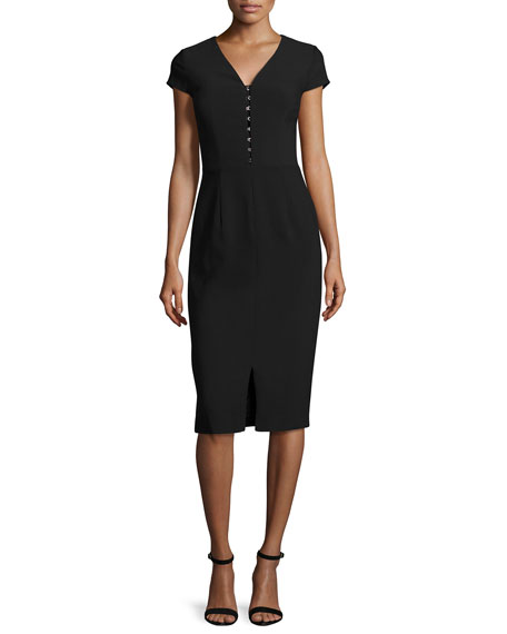 David Meister Short-Sleeve Crepe Sheath Dress, Black
