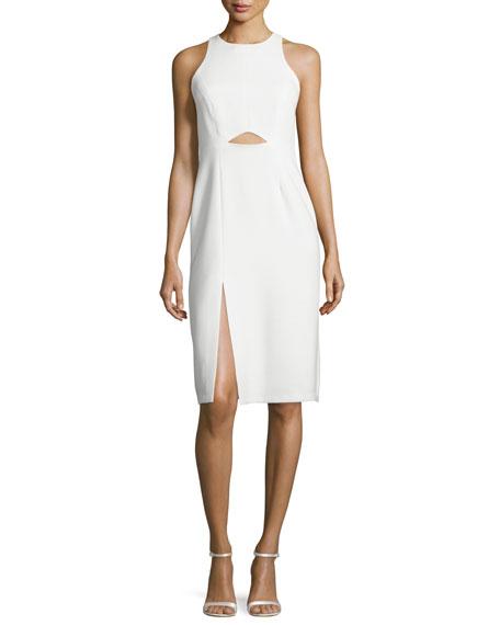Halston Heritage Sleeveless High-Neck Fitted Cutout Dress, Chalk