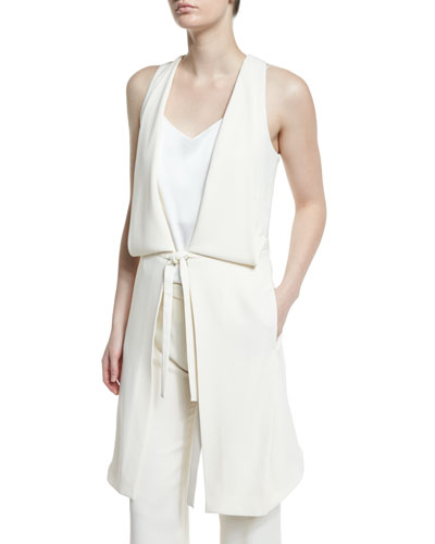 Draped Deep V-Neck Tie-Front Vest, Chalk Reviews