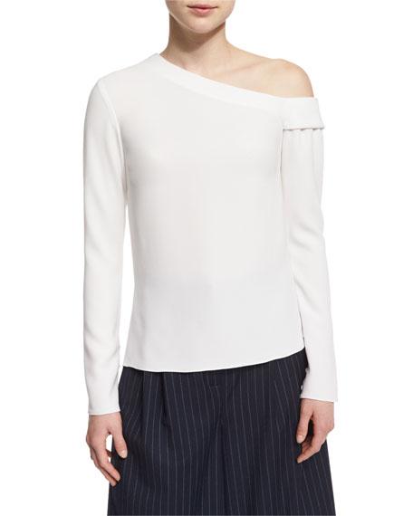 Tibi Long-Sleeve Crepe One-Shoulder Top, Ivory