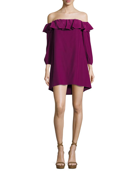 Amanda Uprichard Joanna Off-the-Shoulder Crepe Dress