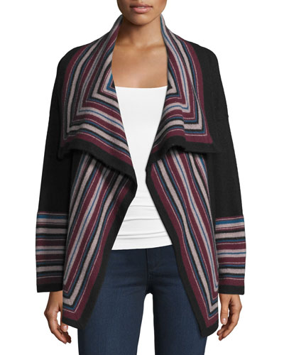 Dagna Striped Wool Open-Front Cardigan