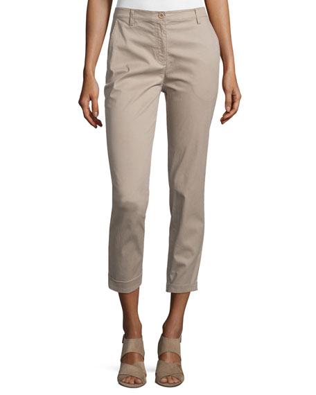 Eileen FisherSlim-Fit Cropped Trousers, Mocha, Petite