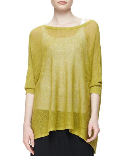 3/4-Sleeve Organic Linen Mesh Box Top, Plus Size