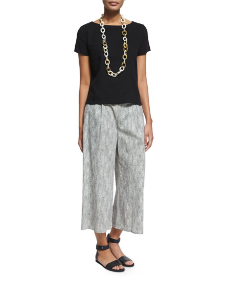 Eileen Fisher Chainette Printed Wide-Leg Cropped Pants, Natural ...