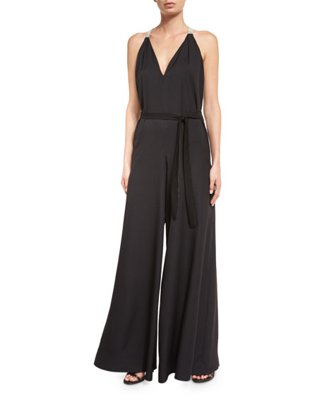 Halston Heritage Sleeveless V-Neck Flowy Jumpsuit, Black