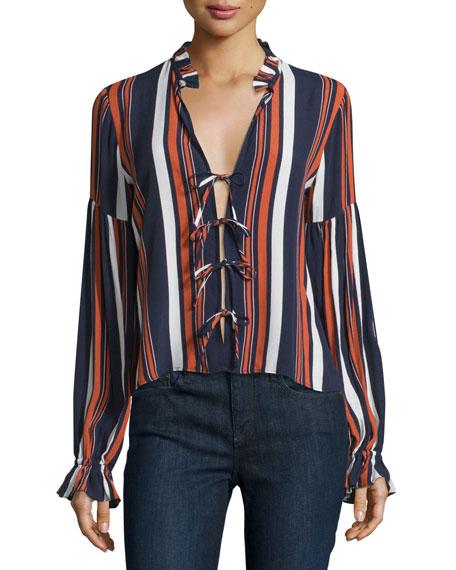 Nala Tie-Front Ruffle Blouse, 70's Stripe