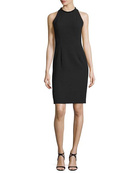 Carmen Marc Valvo Sleeveless Sheath Dress W/Back Cutouts, Black
