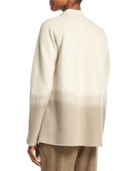 Kaye Oversized Collarless Ombre Jacket, Ecru Multi
