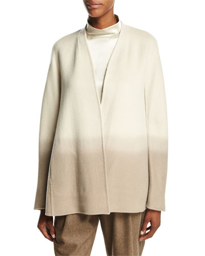 Kaye Oversized Collarless Ombre Jacket, Ecru Multi