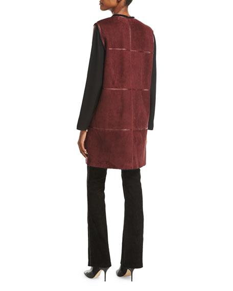 Celeste Long Leather-Trimmed Shearling Fur Vest, Cabernet/Black