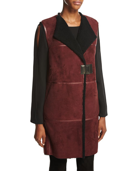 Lafayette 148 New York Celeste Long Leather-Trimmed Shearling
