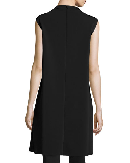 Mock Neck Crossover Tunic, Black