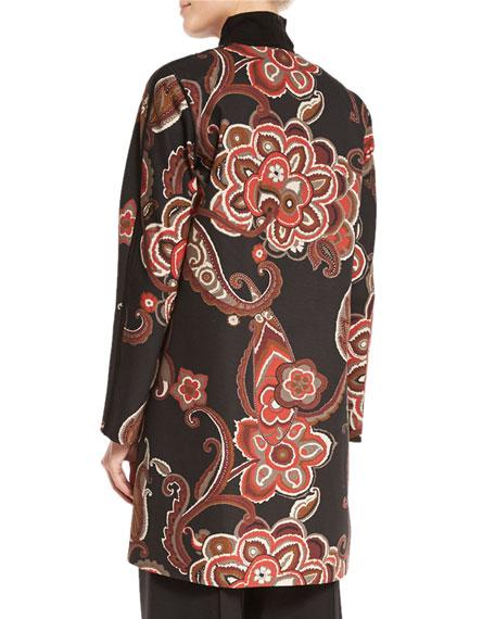 Makeda Paisley Open-Front Topper Jacket, Carnelian Multi