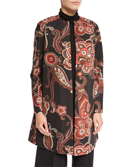Makeda Paisley Open-Front Topper Jacket, Carnelian Multi
