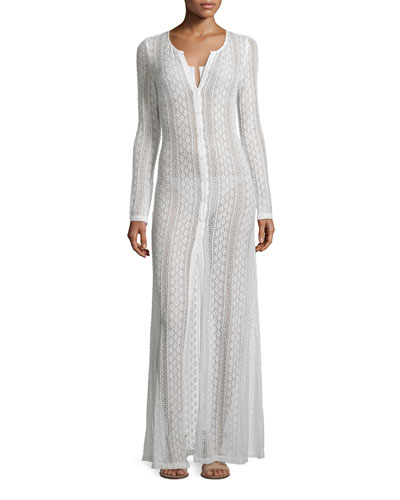 Summer Breeze Long-Sleeve Crochet Coverup, Cream