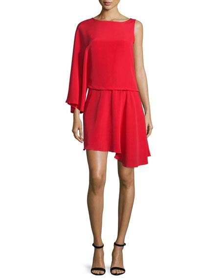Halston Heritage Asymmetric Flowy Faille Blouson Dress, Scarlet