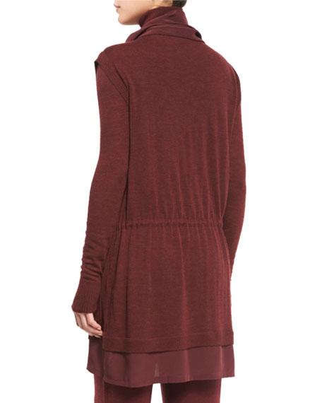 Locklyn Silk-Trimmed Wool Parka Jacket, Burgundy