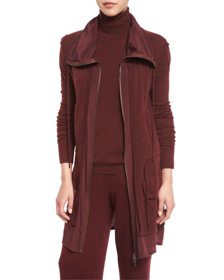 Belford Locklyn Silk-Trimmed Wool Parka Jacket, Burgundy