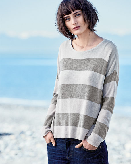 Sleek Lyocell/Merino Long-Sleeve Striped Boxy Top