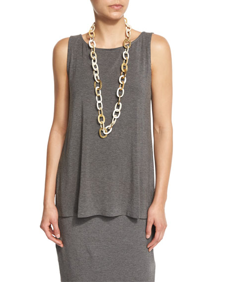 Eileen Fisher Sleeveless Cozy Long Shell, Ash