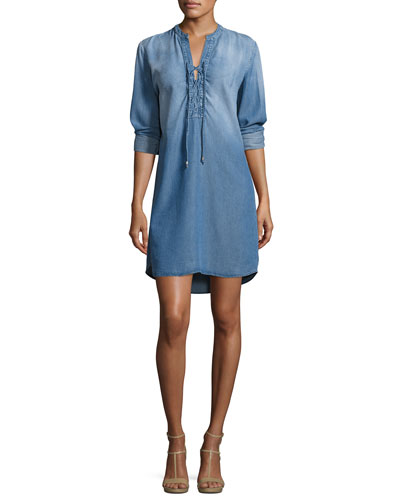 Lace-Up Shirtdress, Medium Wash