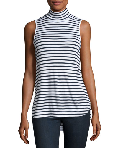 Striped Turtleneck Shell, White