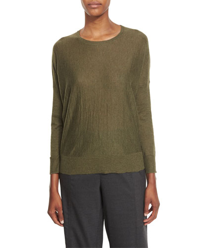 Long-Sleeve Alpaca Box Top, Caper