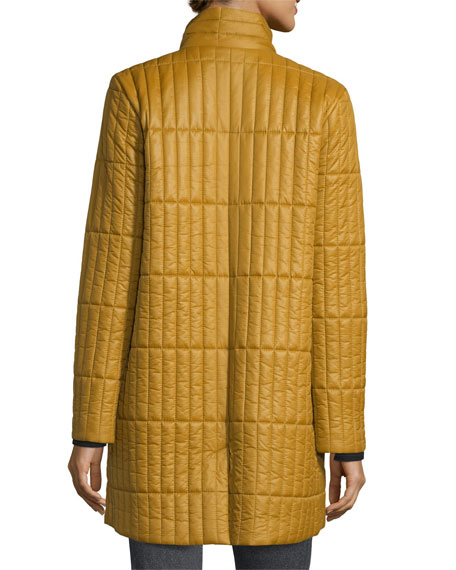 Quilted Nylon Knee-Length Coat