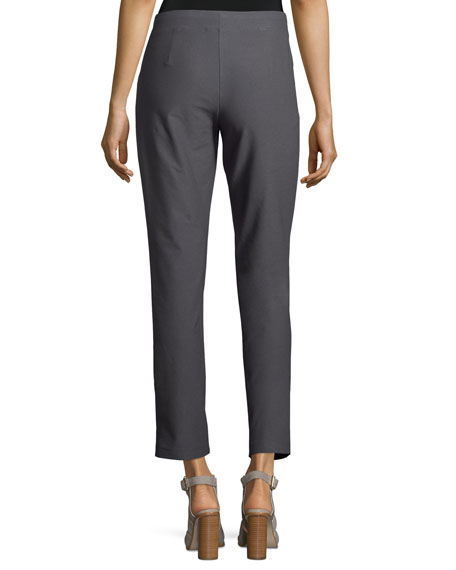 Washable Stretch-Crepe Ankle Pants, Ash