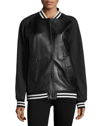 Tessa Leather Varsity Jacket