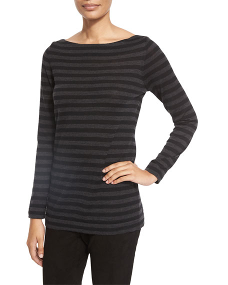 Eileen Fisher Striped Merino Wool Long-Sleeve Top,