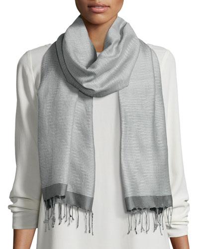 Hand-Loomed Wool/Silk Pathways Scarf, Pewter