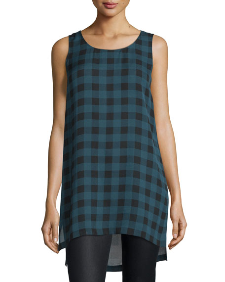 Eileen Fisher Sleeveless Buffalo Check Silk Tunic