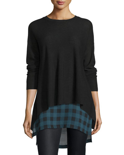 Long-Sleeve Merino Links Top, Black, Plus Size