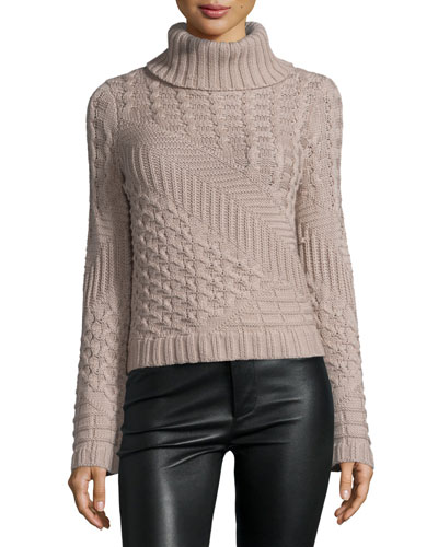 Silena Mixed-Knit Merino Wool Turtleneck Sweater, Saddle