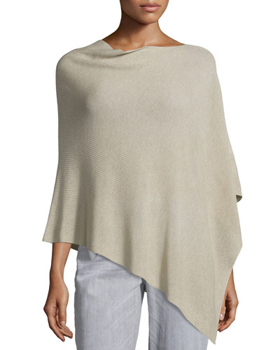 Sleek Tencel®/Wool Ribbed Poncho, Maple Oat, Petite