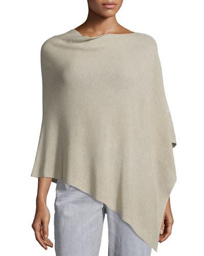Sleek Tencel®/Wool Ribbed Poncho, Maple Oat, Petite