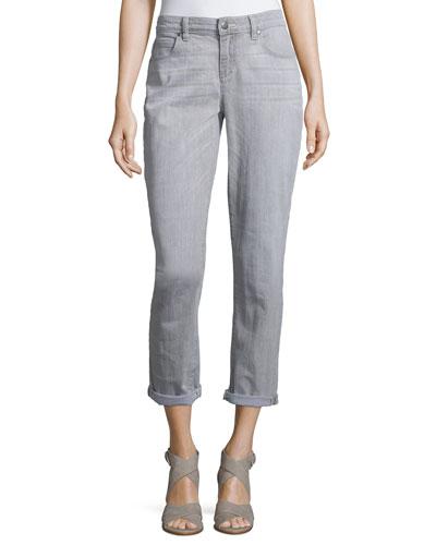 Slim-Leg Cropped Boyfriend Jeans, Vintage Gray, Petite