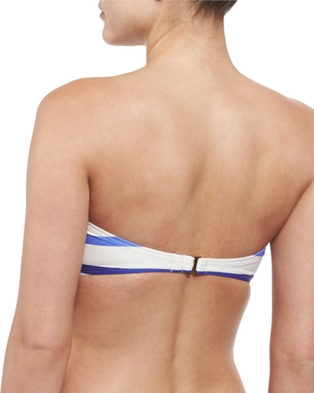 provincetown striped bandeau swim top