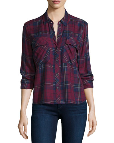 Dylan Plaid Long-Sleeve Shirt, Oxblood/Navy