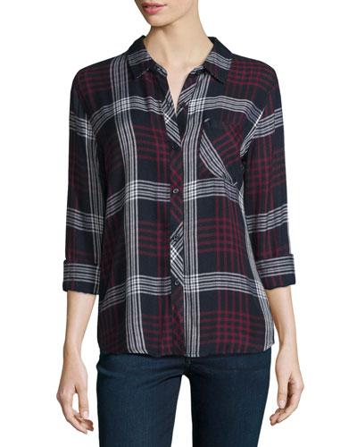 Hunter Plaid Long-Sleeve Shirt, Indigo/Merlot