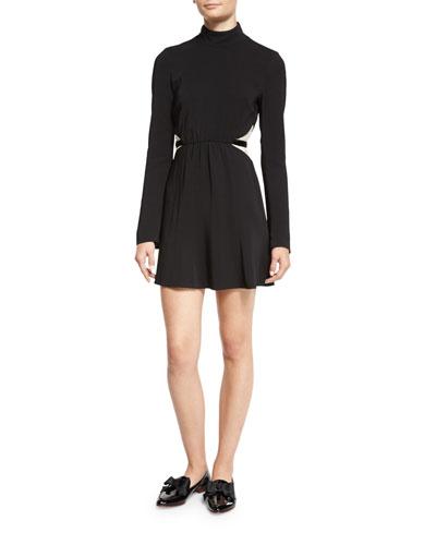 354d40d7e606ab Kristi Bicolor Lace-Inset Turtleneck Dress