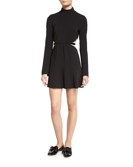Rachel Zoe Kristi Bicolor Lace-Inset Turtleneck Dress