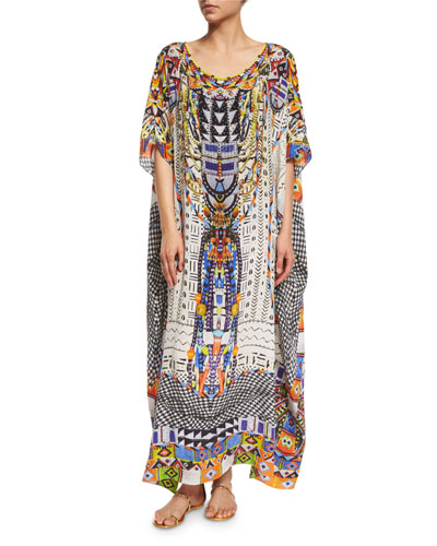 Embellished Caftan Coverup Maxi Dress, Echoes of Engai