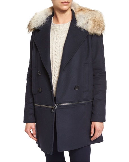 Veronica Beard Antares Convertible Double-Breasted Coat, Navy