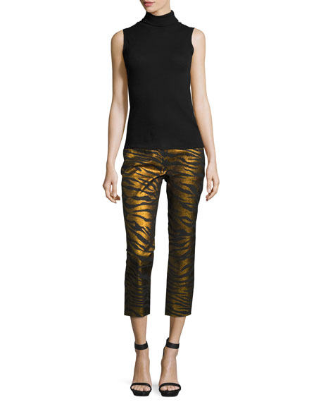 Metallic Tiger Stripe High-Rise Pants, Black/Gold