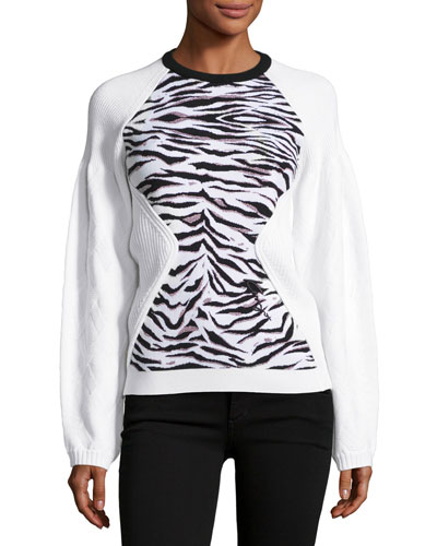 Jacquard Tiger Stripe Sweatshirt, White