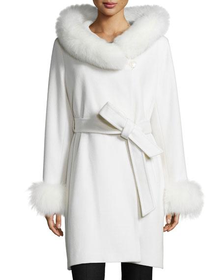 Felt Fur-Trim Wrap Coat, White